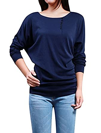 Allegra K Lady Boat Neck Batwing Sleeve Buttons Decor Ribbed Trim Leisure Blouse