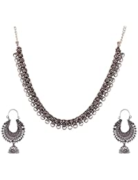 Ganapathy Gems Silver Metal Strand Necklace Set For Women (GPJC37)