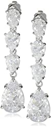 "CZ by Kenneth Jay Lane ""Special Occasion"" Four-Pear Cubic Zirconia (6 cttw) Linear Dangle Earrings"