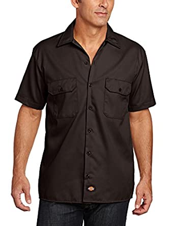 Dickies Men's Short Sleeve Work Shirt, Dark Brown, Small