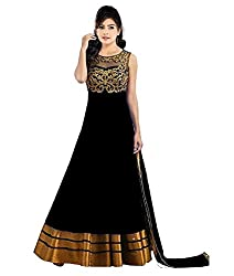 Shree Hans Creation Black Georgette Semi-Stitched Anarkali Dress Material