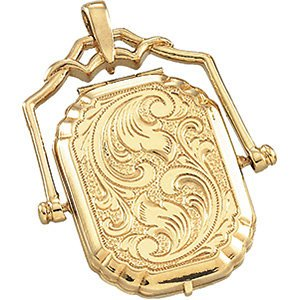 14k Yellow Gold Embossed Swivel Locket
