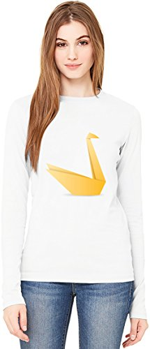 Yellow Origami Swag T-Shirt da Donna a Maniche Lunghe Long-Sleeve T-shirt For Women| 100% Premium Cotton Ultimate Comfort Small