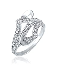 Mahi Rhodium Plated Regal Dzire Ring With CZ Stones For Women FR1100417R