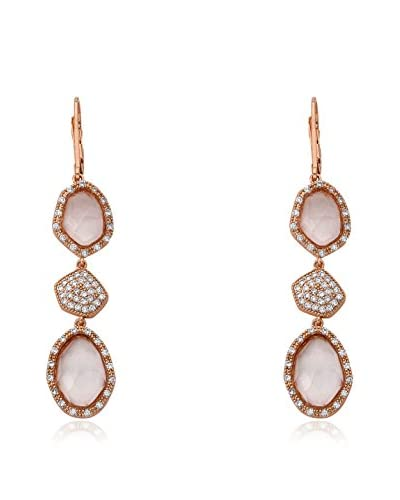 Riccova City Lights Faceted Glass & CZ Pavé Triple Drop Earrings, Rose Gold