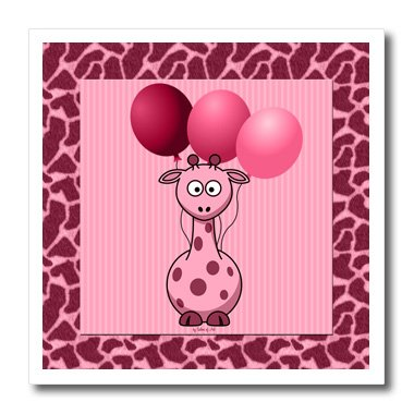 Ht_21787_2 Doreen Erhardt Baby Designs - Pink Giraffe With Giraffe Print And Pink Balloons - Iron On Heat Transfers - 6X6 Iron On Heat Transfer For White Material front-98401