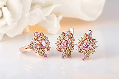 Bamoer Fashion 18K Gold Plated Pink Ice Flower Finger Ring Earring Stud Jewlery Sets for Girlfriend AAA Cubic Zircon CZ Wedding Engagement Christmas Gift For Girl Women Ladies