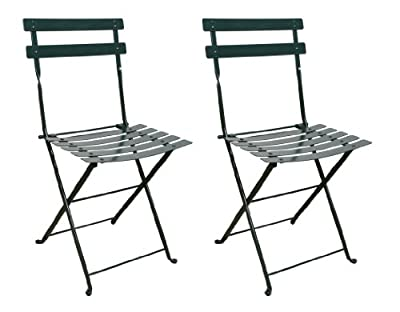 folding side chair with steel metal slats blackgreen frame set of 2