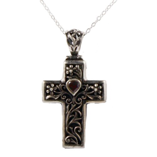 Sterling silver cross pendant necklace with heart-shaped garnet on 18