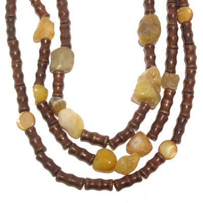 Agate Necklace 02 Multi Strand Triple Yellow Stone Brown Wood Beaded 17