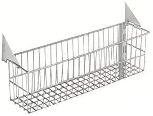 Triton Products 1775 Storability Wire Basket 15-Inch W by 4-Inch H by 6-1/2-Inch D Gray Epoxy Coated Steel with Lock-On Hanging Brackets