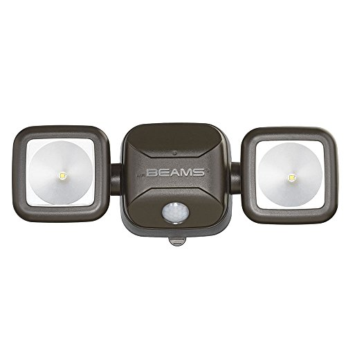 Mr. Beams MB3000 High Performance Wireless Battery Powered Motion Sensing Led Dual Head Security Spotlight, 500 Lumens, Brown (Battery Powered Motion Sensor compare prices)