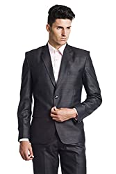 Wintage Men's Poly Viscose Two Buttoned Notch Lapel Festive and Casual BlackBlazer