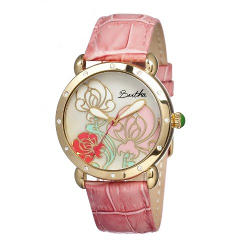 bertha-womens-br1505-josephine-pink-multi-leather-watch