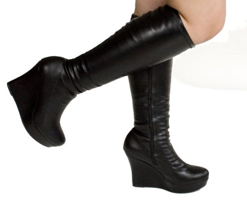42f89836a1a Knee high platform boots with full inner side zipper for an easy on and  off. Featuring soft stretch faux leather