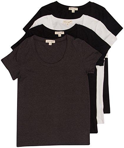 4 Pack Zenana Women's Plus Size Basic Scoop Neck T-Shirts 2X Black, Black, White, Charcoal