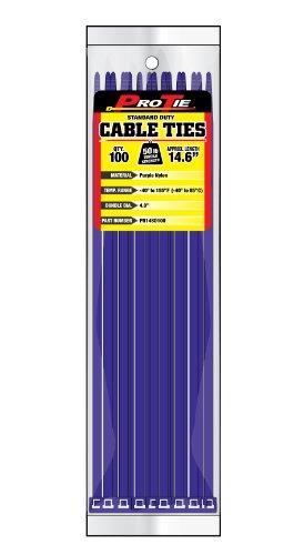 Pro Tie PR14SD100 14.6-Inch Purple Standard Duty Color Cable Tie, Purple Nylon, 100-Pack (Purple Cable Ties compare prices)