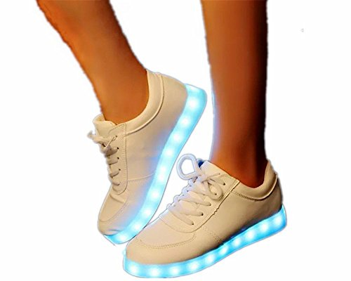 KIPTOP-Unisex-Hombres-Mujeres-7-Color-USB-Carga-LED-Luz-Glow-Luminosos-Light-Up-Flashing-Sneakers-Zapatos-Deportivos-Zapatillas-de-Deporte-Blanco