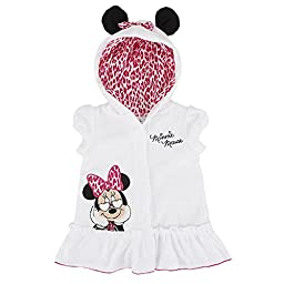 Disney Minnie Mouse Baby Girls\' Embroidered Swimsuit Cover Up with Ear Hood (Newborn)