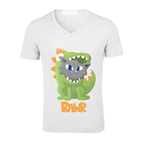 Chas Cat Dino Onesie Mens V Neck Cotton T-shirt White
