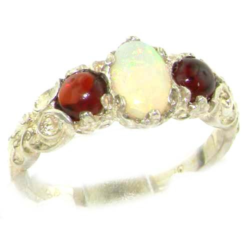 Ladies Solid Sterling Silver Natural Opal & Garnet English Victorian Trilogy Ring - Size 12 - Finger Sizes 5 to 12 Available - Suitable as an Anniversary ring, Engagement ring, Eternity ring, or Promise ring