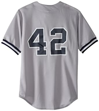 MLB New York Yankees Mariano Rivera Road Gray Short Sleeve 6 Button Synthetic Replica... by Majestic
