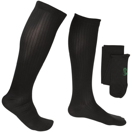 EvoNation Men's USA Made Graduated Compression Socks 8-15 mmHg Mild Pressure Medical Quality Knee High Orthopedic Support Stockings Hose - Best Comfort Fit, Circulation, Travel (Large, Black) (Pressure In compare prices)