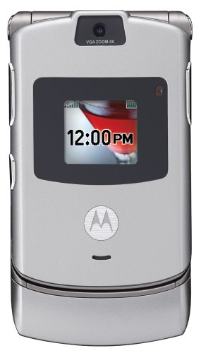 Motorola RAZR V3 Unlocked Cell Phone with Video Player--International Version with No Warranty (Silver)