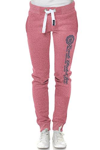 M.Conte Sweat-Pants Modello Ramona Pantaloni in Felpa sportivi da Jogging tuta felpa per donna rosa scuro Taglia L