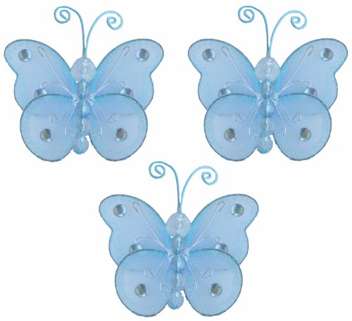 "Butterfly Decor 3"" Blue Mini (X-Small) Wire Bead Hanging Butterflies 3Pc Set. Decorate Baby Nursery Bedroom, Girls Room Ceiling Wall Decor, Wedding Birthday Party, Bridal Baby Shower, Bathroom. Decoration For Crafts, Scrapbooks, Invitations, Parties front-988021"