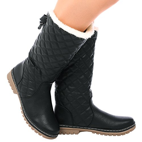s2a-new-womens-ladies-quilted-faux-fur-lined-thick-sole-mid-calf-boot-shoes-black-size-6-uk