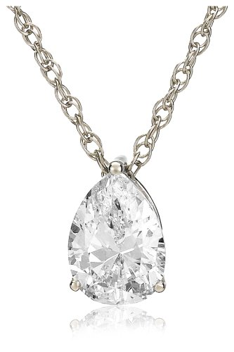 Platinum Plated Sterling Silver Teardrop Cubic Zirconia Pendant Necklace