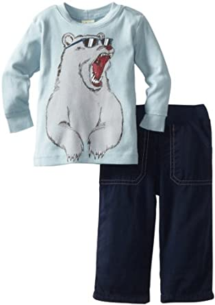 Charlie Rocket Baby-Boys Infant Bear Tee And Ribwaist Utility Pant Set, Cloud/Artic, 3-6 Months