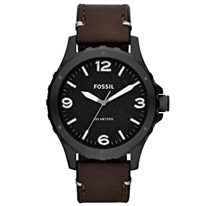 Fossil JR1450 Mens Nate Brown Leather Strap Watch