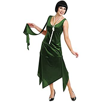 Sandy Speak Easy 1920s Flapper Costume Dark Green