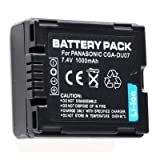 Rechargeable Lithium Ion Battery Pack (CGA-DU07) for Panasonic NV-GS10, NV-GS100K, NV-GS10EG, NV-GS10EGA, NV-GS10EGR, NV-GS10EGS, NV-GS11 Digital Camcorder Video Camera