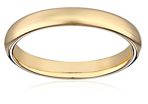 Women's 18k Yellow Gold 3mm Comfort Fit Plain Wedding Band, Size 6