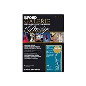 Ilford 2002386 8.5 X 11 Inches GALERIE Prestige Gold Cotton Smooth, 25 Sheet Pack (Black)