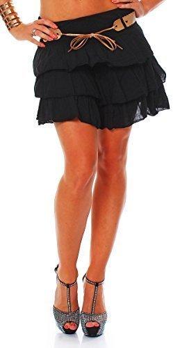 zarmexx-ars-bavaria-mujer-falda-rock-verano-rock-minifalda-con-cinturon-algodon-volantes-rock-negro-