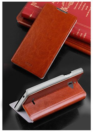 For Micromax Canvas Nitro A310 / A311 Accessories Premium LEATHER Flip Cover Case with Stand by MOFI - Brown