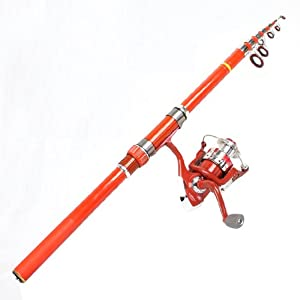 8 in 1 Fish Bobbers Fishooks Alert Bell 2.6m Fishing Pole Orange Red Set by Como