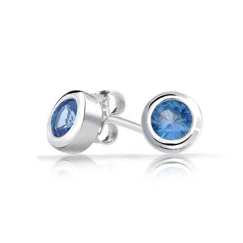 Bling Jewelry Mens Unisex CZ Bezel Sapphire Color Sterling Silver Stud Earrings