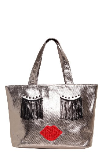 Betseyville – Pewter Bronze Fancy Face Tote Bag