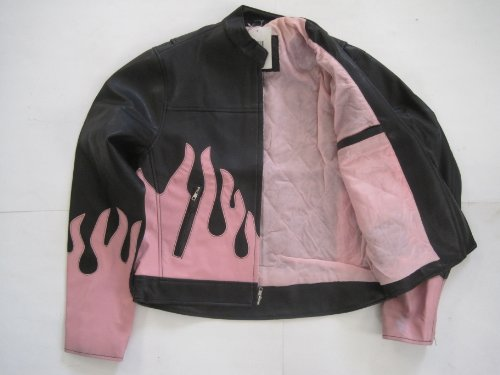 Fashion Biker Jacket - Black w/ Pink Flames