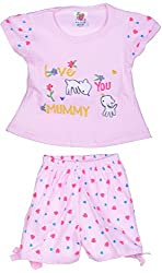 Amy Baby Girls' Dress (B18_1_0-3 Months, Pink, 0-3 Months) - Special Offer with Free Shipping - 100% Cotton Exclusive Kidswear