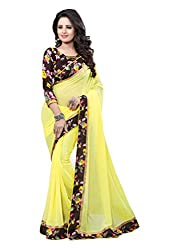 Fashion205 Women Faux Georgette Saree (OCO-AR8-1054_Yellow_Yellow_Free Size)