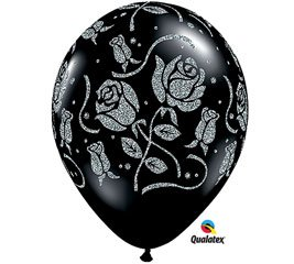 "(25) Black Glitter Rose 11"" Latex Balloons"