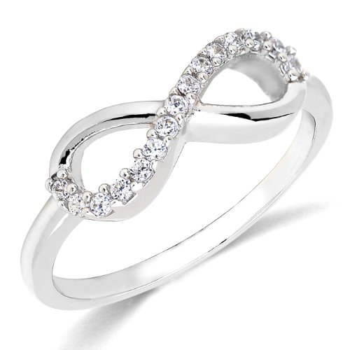 Sterling Silver Rhodium Plated Forever Infinity Ring Love & Friendship Size 7
