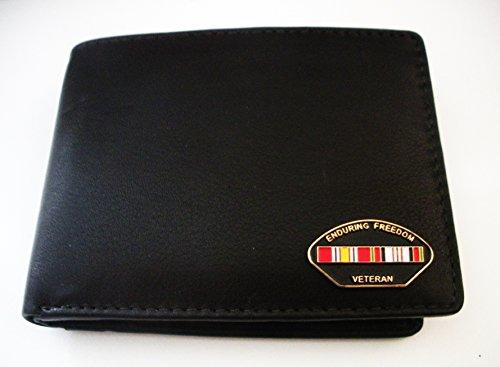 Afghanistan Veteran Men'S Bi-Fold Italian Leather Wallet