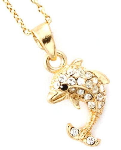 Adorable Dainty Gold Plated X-Small Dolphin Necklace with Clear Embellished Crystals